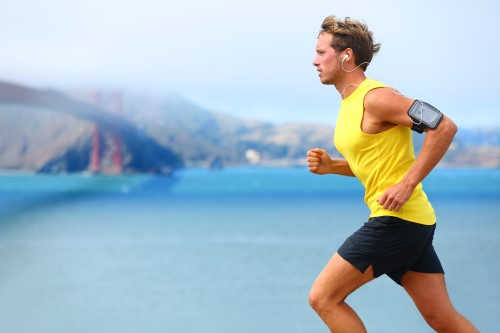 Healthy man on a run after rolfing